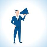 Illustration Of Businessman Speaking Through Megaphone stock illustration