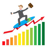 Illustration of  businessman surfing  business arrow wave on chart  Royalty Free Stock Images