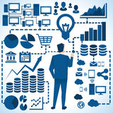 Illustration Of Businessman Surrounded By Business Graphics stock illustration