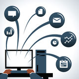 Illustration Of Businessman Using Computer With Icons Stock Photography