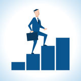 Illustration Of Businessman Walking Up Bar Chart Stock Images