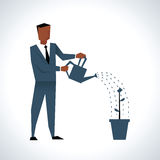 Illustration Of Businessman Watering Plant In Pot vector illustration