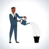Illustration Of Businessman Watering Plant In Pot royalty free illustration