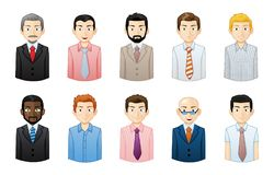 Businessmen Avatar Set. Illustration of businessmen of differing looks and ethnicities isolated on a white background royalty free illustration