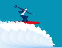 Illustration of businessmen surfing vector illustration