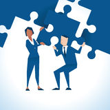 Illustration Of Businesspeople With Piece Of Jigsaw Puzzle stock illustration