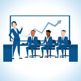 Illustration Of Businesswoman Addressing Board Meeting Stock Image