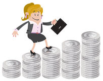 Businesswoman Buddy climbs up the money hill. Illustration of Businesswoman Buddy climbing up a money shaped bar chart Royalty Free Stock Photography