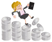 Businesswoman Buddy falls down the money hill. Illustration of Businesswoman Buddy falling down a money shaped bar chart Stock Photography
