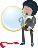 Businesswoman Buddy spies a clue. Illustration of Businesswoman Buddy with a large magnifying glass searching for a clue Royalty Free Stock Images