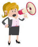 Business Buddy with Loudspeaker. Illustration of a Businesswoman Buddy who likes to communicate through the subtle medium of a loudspeaker Royalty Free Stock Images