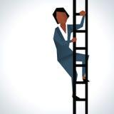 Illustration Of Businesswoman Climbing Ladder stock illustration