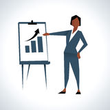 Illustration Of Businesswoman Giving Presentation royalty free illustration