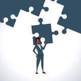 Illustration Of Businesswoman Holding Piece Of Jigsaw Puzzle Vector Illustration