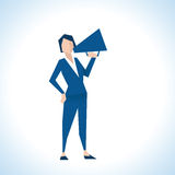 Illustration Of Businesswoman Speaking Through Megaphone royalty free illustration