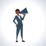 Illustration Of Businesswoman Speaking Through Megaphone Royalty Free Stock Photos