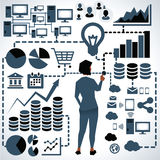 Illustration Of Businesswoman Surrounded By Business Icons stock illustration