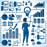 Illustration Of Businesswoman Surrounded By Business Icons vector illustration
