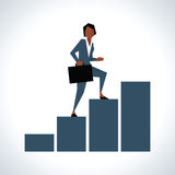 Illustration Of Businesswoman Walking Up Bar Chart royalty free illustration