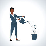 Illustration Of Businesswoman Watering Plant In Pot stock illustration