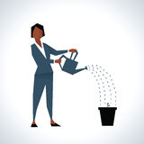 Illustration Of Businesswoman Watering Plant In Pot vector illustration