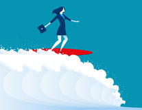 Illustration of businesswomen surfing. Concept business. Vector Royalty Free Stock Photos