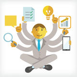 Illustration of busy businessman. With multi tasking Royalty Free Illustration