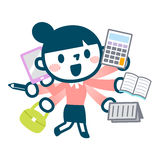 Illustration of busy career woman Royalty Free Stock Image