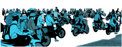Illustration of busy south east asian street view with motorbikes and mopeds. Busy high street from side view and perspective Stock Image