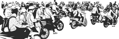 Illustration of busy south east asian street view with motorbikes and mopeds. Busy high street from side view and perspective Royalty Free Stock Photos