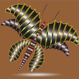 Illustration butterfly dragon. With six wings on a brown background for design and decorations Stock Photos