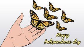 Illustration butterfly fly for simbol independence. Illustration butterfly realistic, this illustration for desain and photo manipulation, this image for symbol stock illustration
