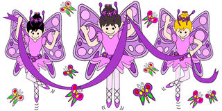 Butterflies and ballerinas. Illustration of 3 butterfly pixie ballerinas dancing with the butterflies Royalty Free Stock Photography