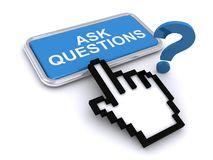 Ask questions button. An illustration of a button with the text Ask Questions with a finger cursor on top Royalty Free Stock Photography