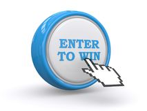 Enter to win. An illustration of a button with the text Enter to Win with a finger cursor clicking on it Stock Image