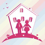 Illustration of buy house  for family.  Silhouette Royalty Free Stock Photos