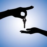 Illustration of buying house in real estate market. Concept illustration of buying and selling house in real estate market. The hand holding the key chain is the Stock Photo