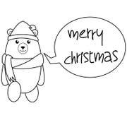 Illustration BW de Noël de bande dessinée d'ours Image stock