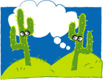 Illustration of Cactus in the Desert stock photography