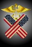 Illustration of caduceus representing US healthcar. Illustration of caduceus with bandage with USA flag representing US healthcare bill stock illustration