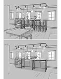 Illustration of cafe interior. Monochrome illustration of cafe interior vector illustration