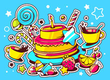 Illustration of cake with candle, sweets and cup of tea o Stock Images