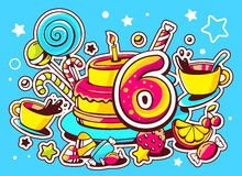 Illustration of cake with candle, sweets and cup of tea w. Ith number six on blue background with star and heart. Hand drawn line art design for web, site Royalty Free Stock Image