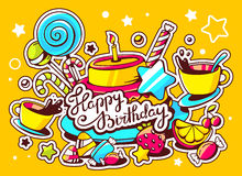 Illustration of cake with candle, sweets and cup of tea w. Ith text happy birthday on yellow background with star and dot. Hand draw line art design for web Royalty Free Stock Image