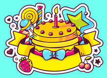 Illustration of cake with candle, sweets and ribbon on bl. Ue background with star and heart. Hand draw line art design for web, site, advertising, banner Royalty Free Stock Photography