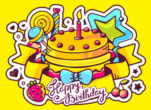 Illustration of cake with candle, sweets and ribbon with. Text happy birthday on yellow background. Hand draw line art design for web, site, advertising, banner Royalty Free Stock Photos