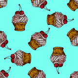 Illustration of cake with cherries. Seamless pattern. Royalty Free Stock Photo