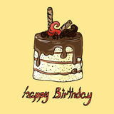 Illustration. Cake with chocolate. Happy Birthday. Stock Images
