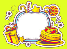 Illustration of cake, gift and confection with frame on g Stock Photos