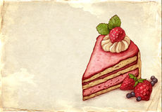 Illustration of cake with strawberry Stock Photography